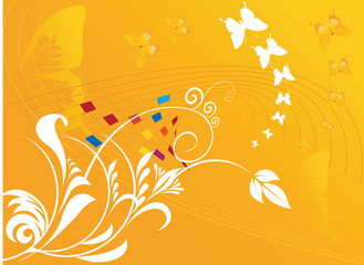 Floral designs with butterflies on yellow background