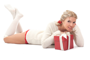 blond girl with gift over white