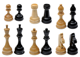 Set of wooden chess pieces