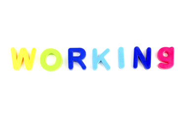 Word Working From Plastic Toys Letters
