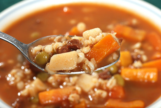 spoonful of beef barley soup