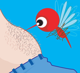 Illustration of a mosquito biting on man's stomach