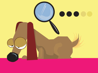 Illustration of a dachshund dog and a magnifying glass