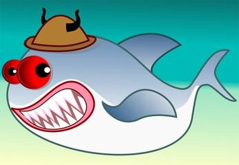 Illustration of fantasy of a vampire shark