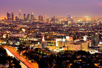 Los Angeles and Hollywood at night