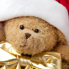 Christmas teddy bear in Santa cap