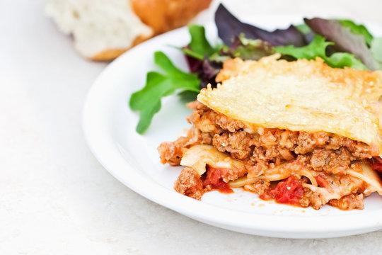 Meat Lasagna and Salad