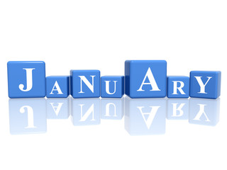 january in 3d cubes