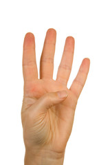 Hand is counting number 4 over white background