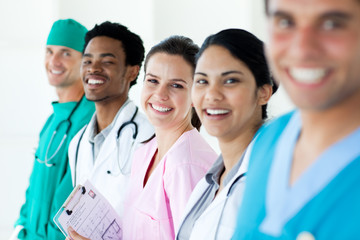 Smiling medical team in a line
