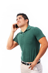 Frustrated young man talking on cell phone