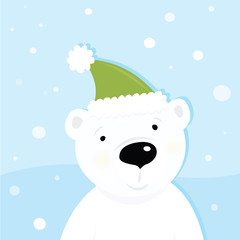 White polar bear on snow. Vector Illustration.