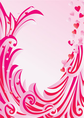 pink frame with flowers and curves