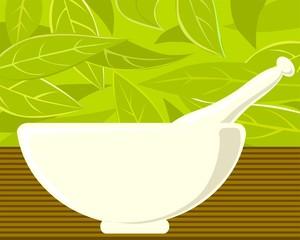 Ayurvedic herb and bowl