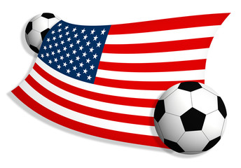 soccer balls & flag of USA