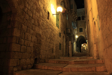 An alley in the old city of Jerusalem at night, Israel.