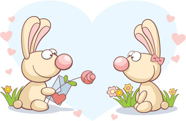 two rabbits on Valentine's Day