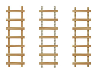 Three vector wooden ladders isolated