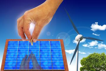Main avec Maison solaire nuage renouvlable