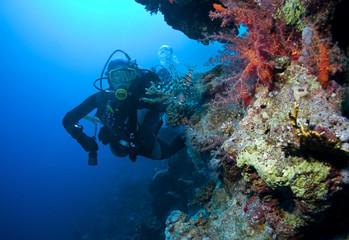 Woman Scuba Diver and Lionfish
