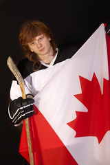 ice hockey player with canadian flag