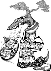 Fairy-tale dragon. Vector art-illustration.