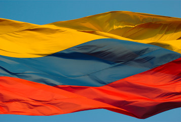 Columbian Flag Moving in the Wind