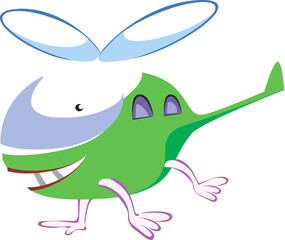 Illustration of a cartoon green helicopter