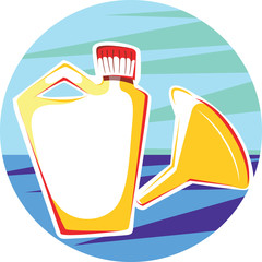 Illustration of a funnel and container