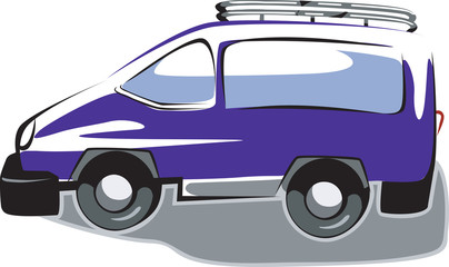 Illustration of arrow blue van