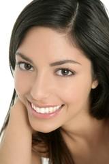 beautiful brunette indian woman closeup portrait