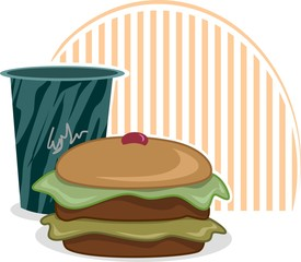 Illustration of baking food in colour shading