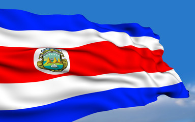 Costa Rican flag waving on wind