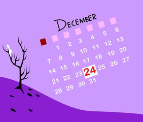 Illustration of a calendar with December month
