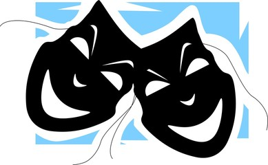 Illustration of two mask in a blue shade background