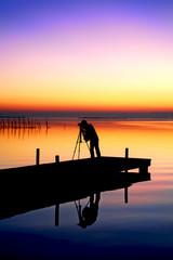 Deurstickers Pier trabajando en el lago