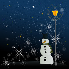 cute winter background with illustrated snowman in the night