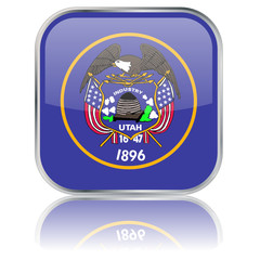 Utah State Square Flag Button (USA - Vector - Reflection)