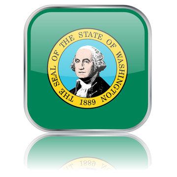 Washington State Square Flag Button (USA - Vector - Reflection)