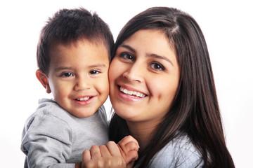 Mother & son close-up cuddling portrait