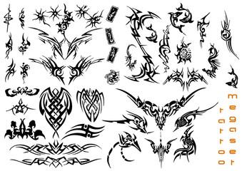 vector illustration tattoo design mega set