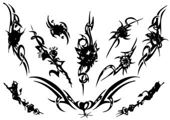 vector illustration tattoo design set