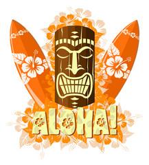 Vector illustration of orange tiki mask with surf boards