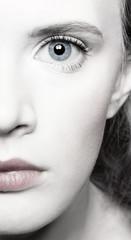 beautiful girl's half-face portrait