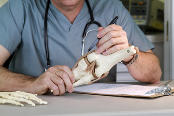 doctor studying a knee joint