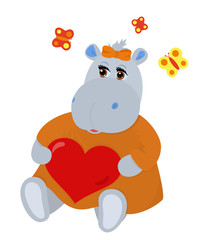 Hippo in love holding heart in hands
