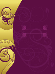 Gold and purple floral background