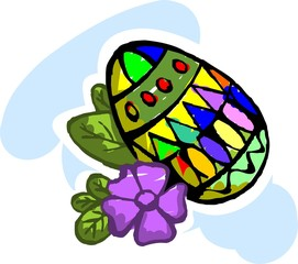 Illustration of egg with flower in colour