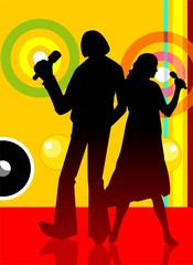 silhouette of teenagers with colour background