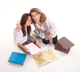 Friendly mom and daughter at homework